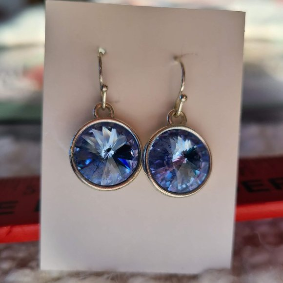 Blue AB Crystal Round Silver Tone Drop Earrings!